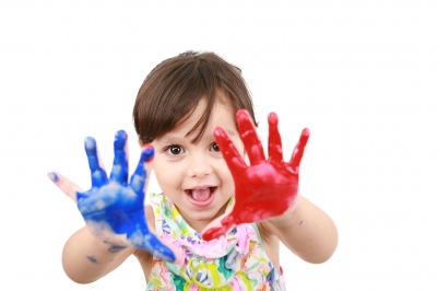 Little girl with painted hands by David Castillo - FDP