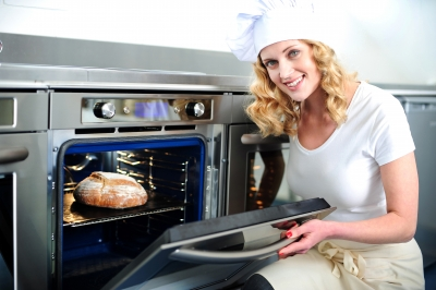 """female Baker With Oven"""