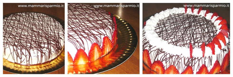 torta farcita panna e fragole